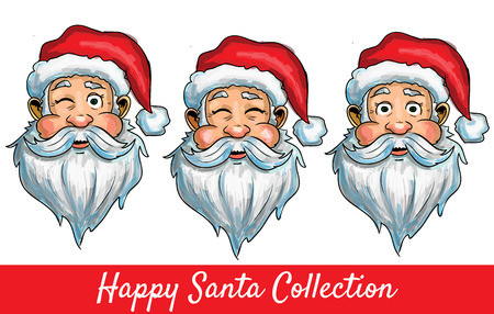 Set of Santa Clause isolated heads with different impressions
