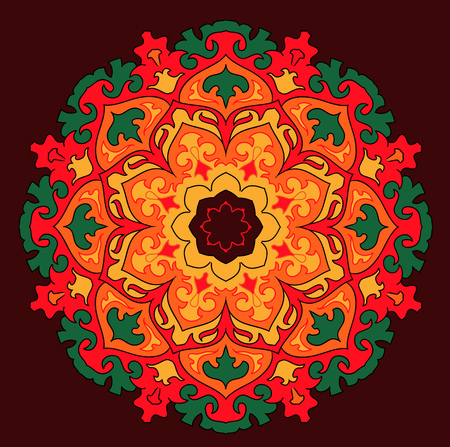 solstice: arabic asian indian mandala colorful sun
