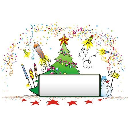 cartoons outline: Christmas card