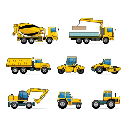 concrete mixer: building machines Illustration