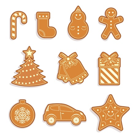 Set of Gingerbread cookies. Christmas cookies. Vector