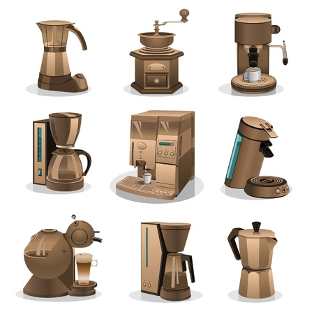 with coffee maker: coffee grinder Illustration