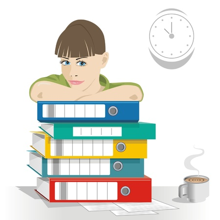cartoon image of a business woman in work office Stock Vector - 11945031