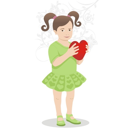 beautiful young girl with heart Vector
