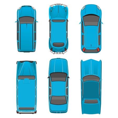 Arriba automóviles de vista diferentes Ilustración de vector