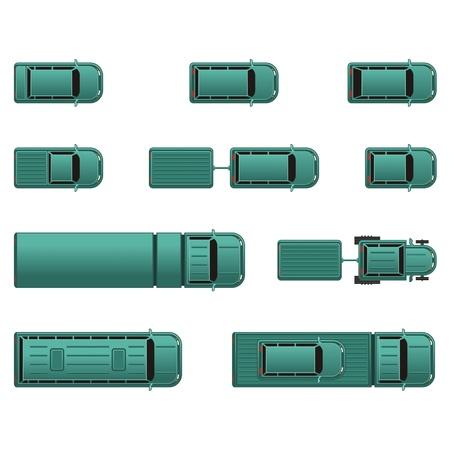 Bovenaanzicht verschillende auto's