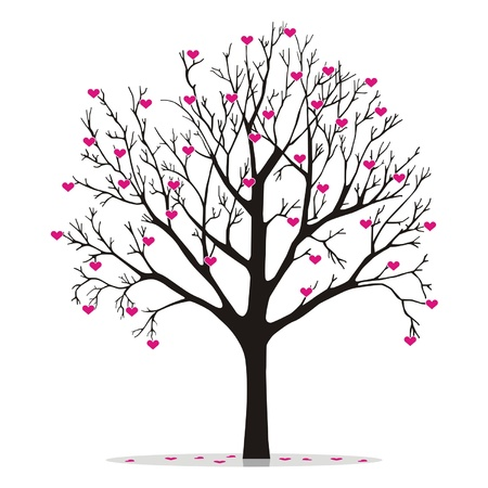 feb: valentine tree with hearts Illustration