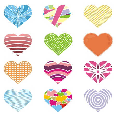 set of grunge hearts, vector illustration Stock Vector - 11945035