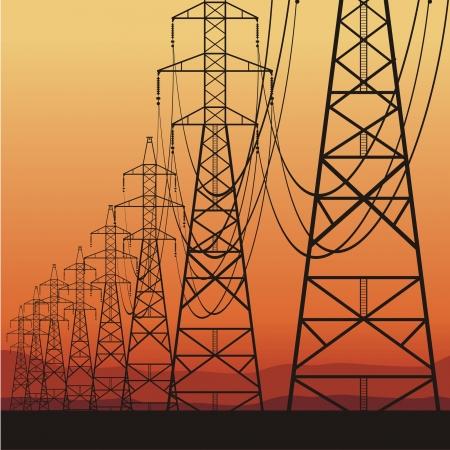 hoogspanningsmasten: Elektrische hoogspanningslijnen en zonsopgang, vector illustration Stock Illustratie