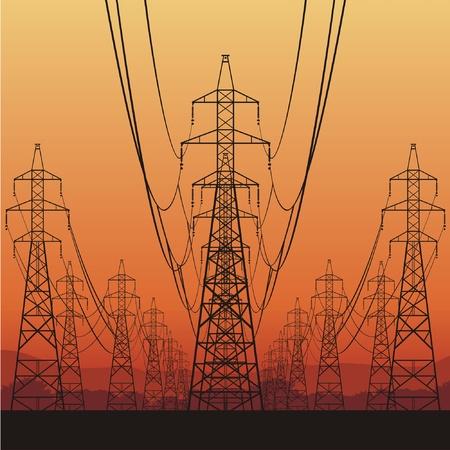 hoogspanningsmasten: Elektrische leidingen en zonsopgang, vector illustratie