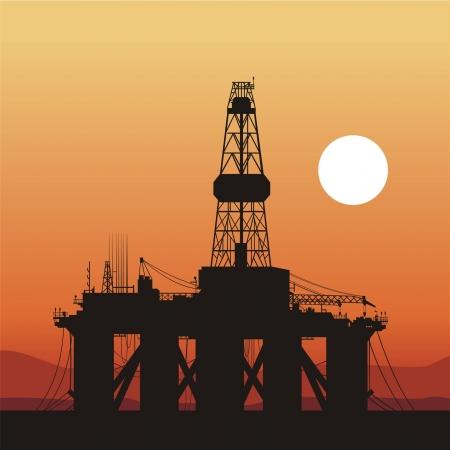 torres petroleras: silueta de una torre de perforación petrolera. Costa de Brasil