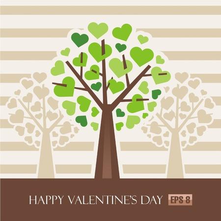 Valentine Love Tree Stock Vector - 12120717