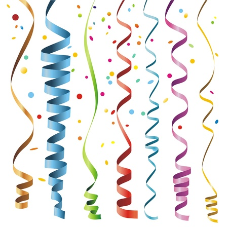 konfeti: Red, green, yellow, orange, blue shiny gradient curling ribbons or party serpentine for design