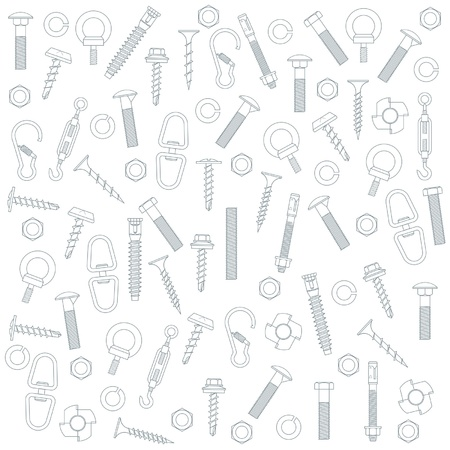 nut bolt: Seamless nuts and bolts Illustration