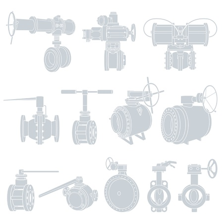 component parts: valves. vecto Illustrations