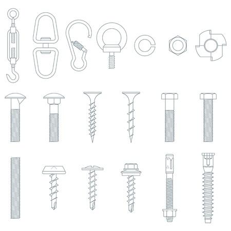 tuercas y tornillos: Tuercas y tornillos sin costura Vectores