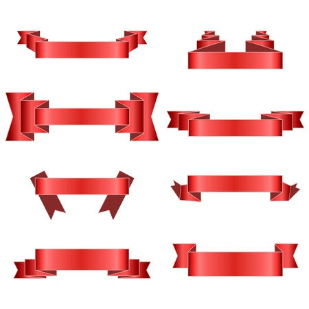 tape line: Red Ribbons Set, Isolated On White Background, Vector Illustration