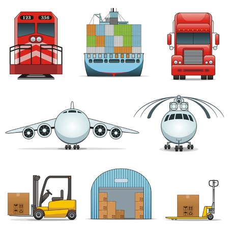 logistic icons Stock Vector - 12379342