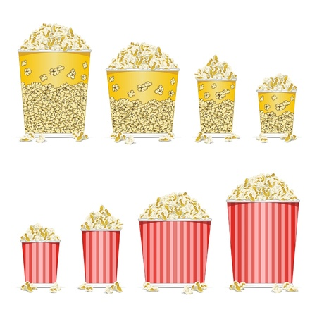 crunchy: Stock Vector Illustration:    illustration of bucket full of popcorn on white background