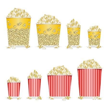 Stock Vektor Illustration Illustration der Eimer voll Popcorn auf weißem Hintergrund