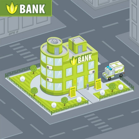 Bank Building Stock Vector - 12724209