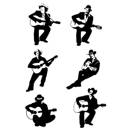 guitarist: man playing guitar Illustration
