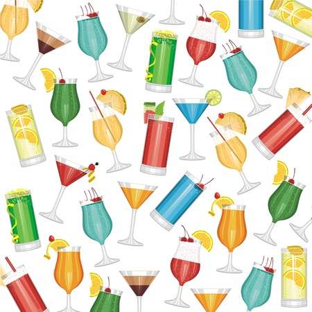 tropical drink: Cocktails seamless pattern