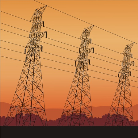 Electric power lines and sunrise, vector illustration Vector