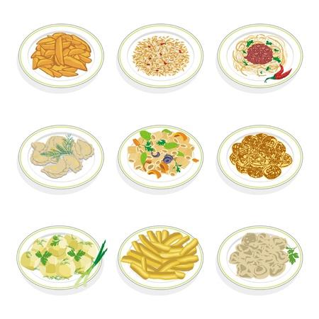 fruitcake: Set of food Illustration
