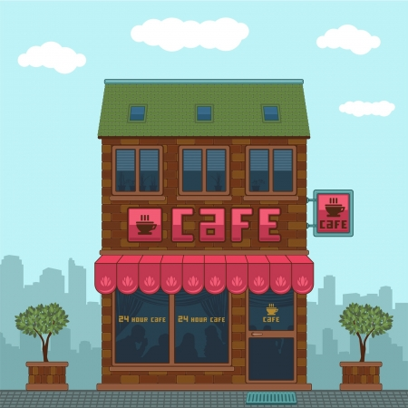 Facade of a cafe Stock Vector - 13778004