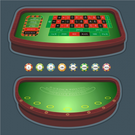 gambling game: roulette table blackjack Illustration