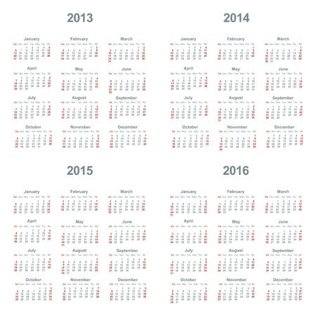 Calendar 2013, 2014, 2015, 2016 Vector