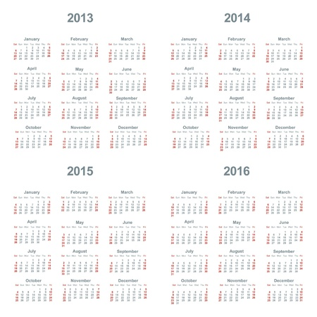 Calendar 2013, 2014, 2015, 2016 向量圖像