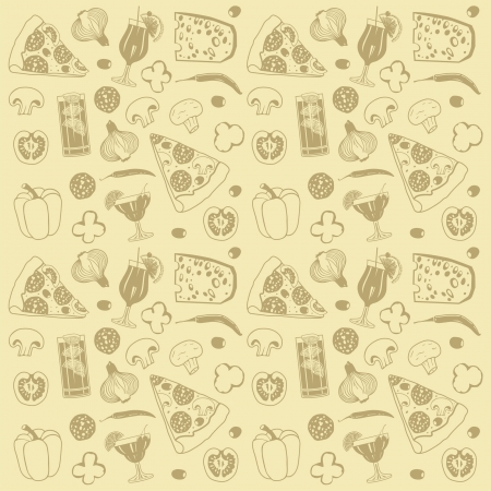 pizza ingredients: pizza seamless pattern