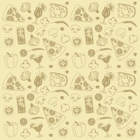 pepper salami: pizza seamless pattern