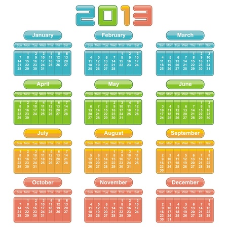 2013 Calendar. Vector Design Stock Vector - 16251780