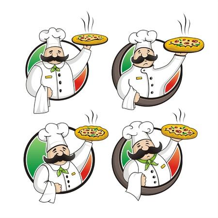 chef italiano: Chef de pizza vector