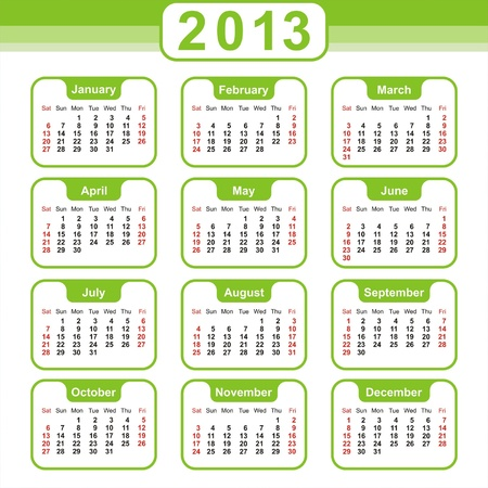 2013 Calendar. Vector Design Stock Vector - 16852461