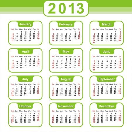 2013 Calendar. Vector Design Stock Vector - 16852461