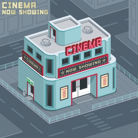 cinema building Vektoros illusztráció