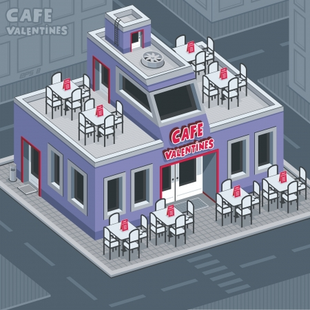 Facade valentine cafe Stock Vector - 17458759