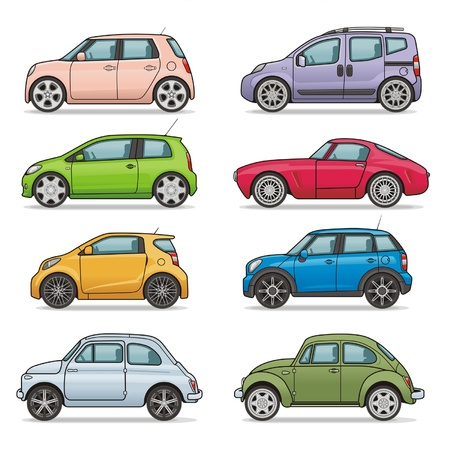 mini bus: car icon set Illustration