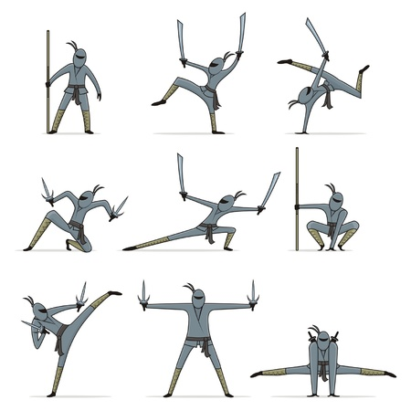 Set of ninja  Vector