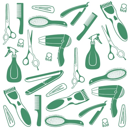 rulos: Barber Seamless Background Vectores