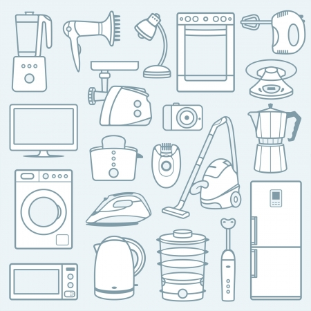 kitchen appliances: Home appliances a background Illustration