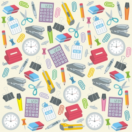 clerical: Office supplies seamless background