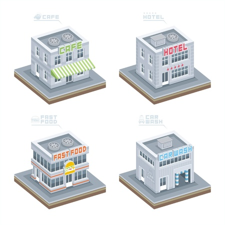 hotel icons: Building set