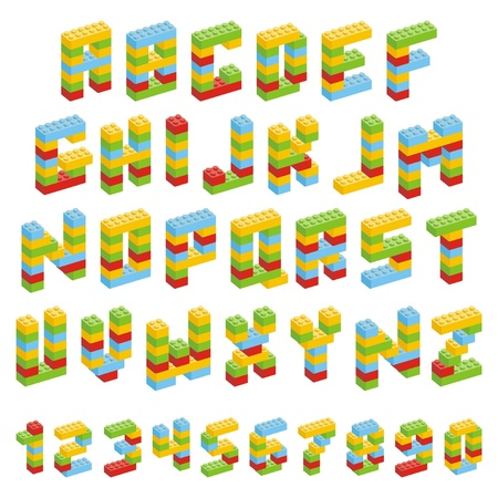 Alphabet set made of toy blocks isolated