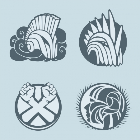 knight helmet logo template Vector