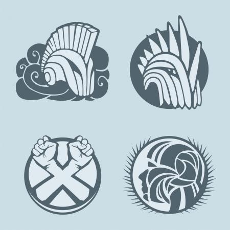 medieval knight: knight helmet logo template